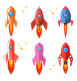 set rocket in flat style cartoon spaceships vector image vector image