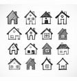 sketch houses on white background vector image vector image