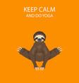 sloth yoga collection funny cartoon animals in vector image