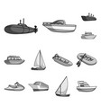 water and sea transport monochrome icons in set vector image vector image