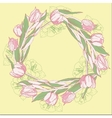 Wreath with pink white tulips vector image vector image