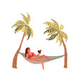 young beautiful girl lies in a hammock vector image