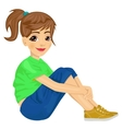 young teenager girl sitting on the floor vector image vector image