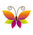 color butterfly with tricolor wings icon vector image