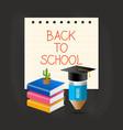 graduation cap pencil book and cactus over paper vector image