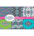 Set of six ethnic seamless patterns Geometric vector image