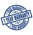 1 year warranty blue round grunge stamp vector image vector image