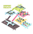 airport facilities isometric composition vector image vector image