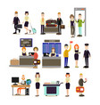airport people flat icon set vector image vector image