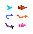 arrows set of colored shiny icons vector image vector image