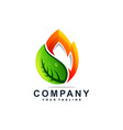 awesome leaf flame logo design vector image vector image