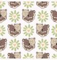 bear hug animals with daisy heart flower vector image vector image