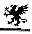 Black Heraldic Griffin vector image vector image