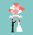 bride and groom with balloons heart wedding day vector image