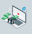 business isometric for video business internet vector image vector image