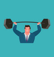 businessman raises heavy barbell up business vector image vector image