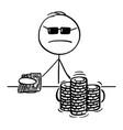 cartoon poker player taking a gamble vector image