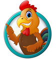 cartoon rooster gives thumb up vector image