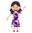 cartoon woman waving on white background vector image