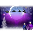 christmas card with the moon and santa claus vector image