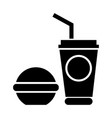 coffee icon with a burger vector image vector image