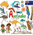 collection australia icons vector image