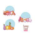 cute and funny food kawaii cartoons vector image vector image