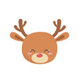 cute deer head cartoon icon vector image