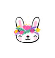 cute easter bunny face with minimal fantasy spring vector image vector image