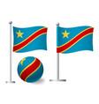 democratic republic congo flag on pole and vector image vector image