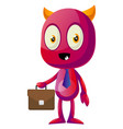 devil with briefcase on white background vector image vector image