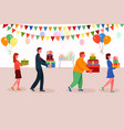 different people carrying surprise gift box vector image vector image