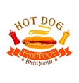 Fast food hot dog sign for food delivery design vector image vector image