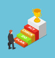 flat 3d isometric businessman standing in front vector image