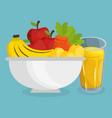 fresh fruits salad with juice healthy food vector image vector image