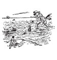 giant entering the sea vintage vector image vector image
