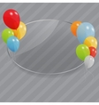 Glass frame with flowers with colored ballons vector image vector image