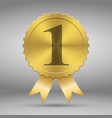 gold award medal number one label with ribbons vector image