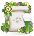 Green beer with clover and gold coins vector image vector image