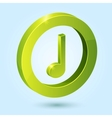 Green music symbol isolated on blue background vector image