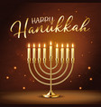 happy hanukkah greeting card with gold inscription vector image vector image