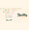 healthy organic food concept vegetable salad bowl vector image vector image