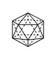 icosahedron isolated black three-dimensional shape vector image