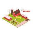 isometric farmsteading landscape composition vector image vector image