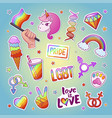 lgbt bright sticker set with traditional emblems vector image