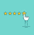 man hand puts 5 star rating vector image