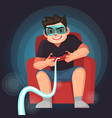 man play the game with joystcik vector image vector image