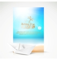 Paper boat beach palm on an paradise place vector image vector image