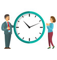 people near clock round watch timer icon vector image vector image