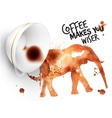 Poster wild coffee elephant vector image vector image
